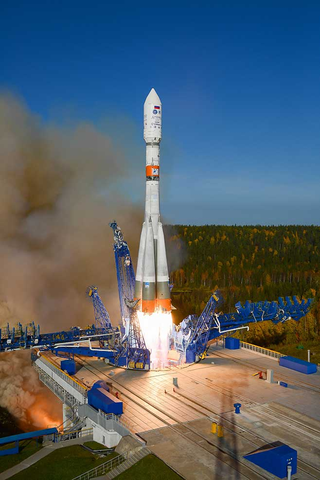 Two Kepler satellites launch on Sept. 28, 2020. (Credit: Roscosmos.)